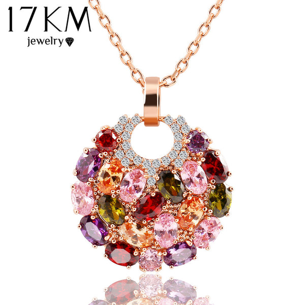 Colorful Round Crystal Zirconia Flower Pendant Necklace