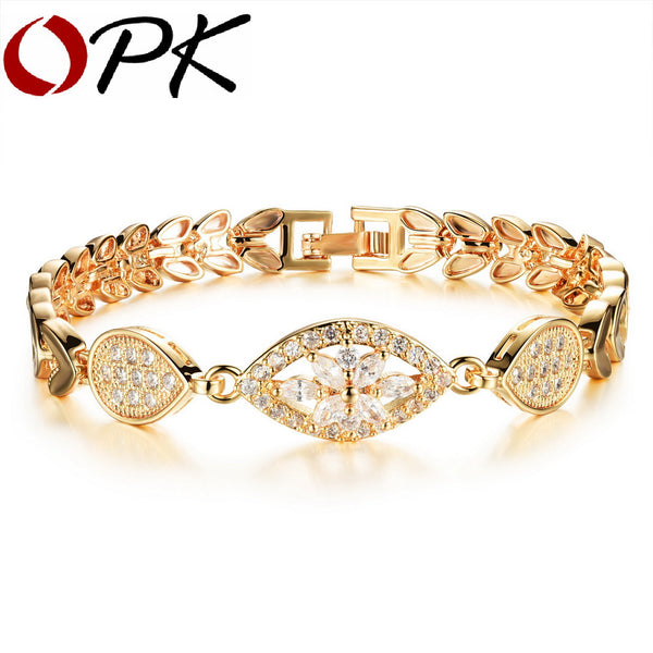 Luxury Gold Chain Link  Zircona Crystal Bracelet