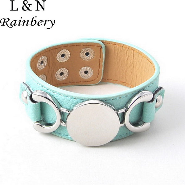 Silver Plated Casual Leather Cuff Bracelet