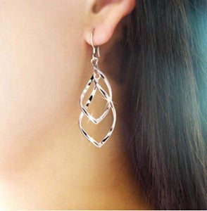 Silver Leaf Pendant Earrings