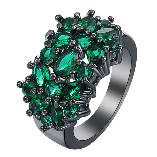 Fine Green Stone Black Flower Ring