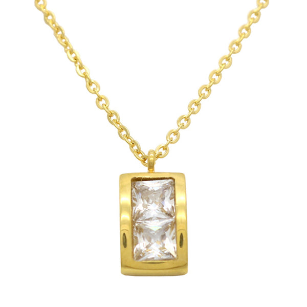 Exquisite Diamond Zircon  Square Pendant Necklace