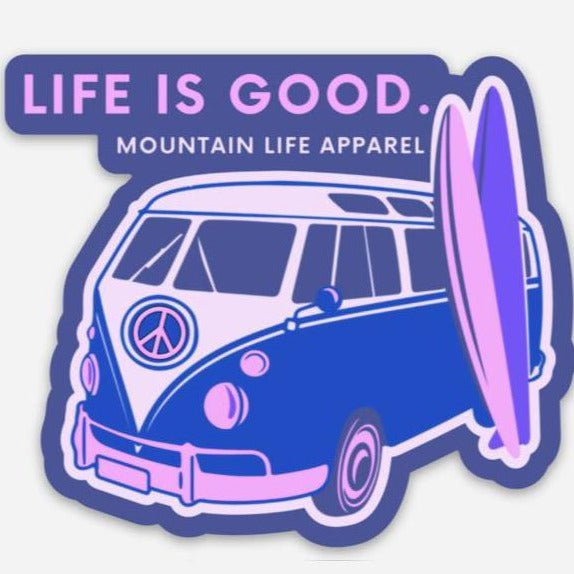 LIFE IS GOOD STICKER (PINK) - Mountain Life Apparel | Shop Hiking, adventure clothing online!