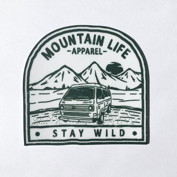 ARMY GREEN STAY WILD STICKER - Mountain Life Apparel | Shop Hiking, adventure clothing online!