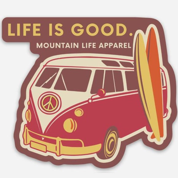 LIFE IS GOOD STICKER (RED) - Mountain Life Apparel | Shop Hiking, adventure clothing online!