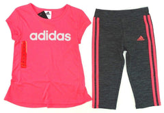 Adidas Girls 2 Piece Performance Shirt & Capri Shorts Set, Hot Pink
