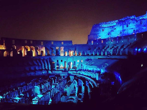 Roman Colosseum exhibit with Motif Fresco RGB LEDs (Blizzard Lighting) created by Lumin-ART Productions