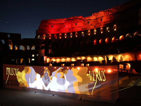 Outdoor RGB LED wash fixture Motif Fresco lights up Roman Colosseum (by Blizzard Lighting)