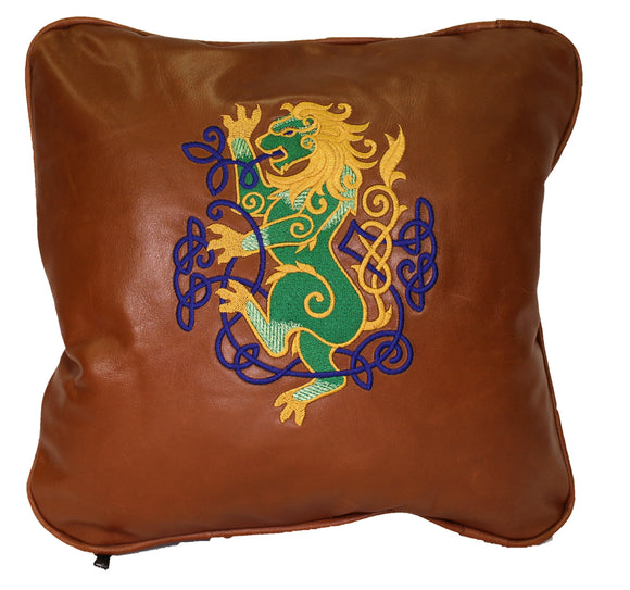 Hand made Genuine Full Grain Cow Hide Leather Cognac Throw Celtic Design Pillow Cover