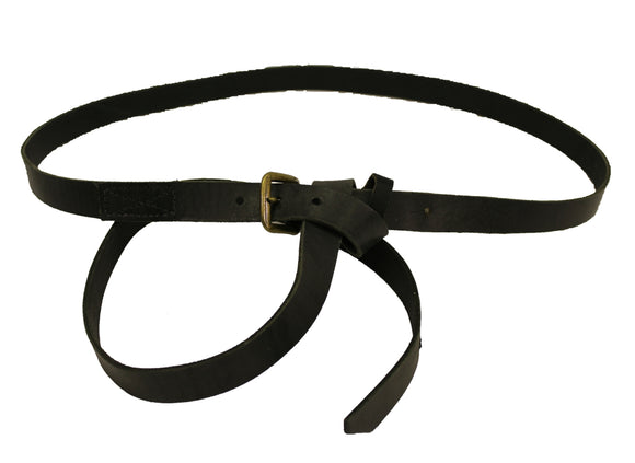 Black Leather Belt, extra long overhand loop belt