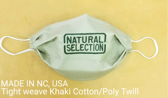 Khaki Face Mask Natural Selection Embroidered