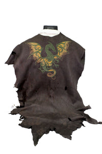 Natural Full Grain Deerskin Hide Embroidered With Celtic Dragon Design Cape