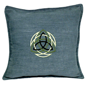 Handmade Soft Blue Fabric Embroidered with Celtic Knot Design Throw Pillow Cover