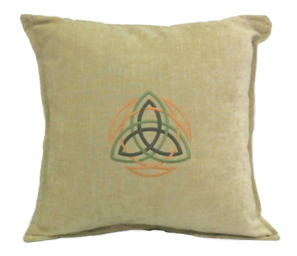 Handmade Celtic Knot Machine Embroidered on Designer Fabric Pillow