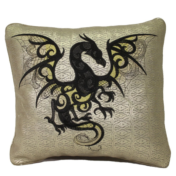 Genuine Leather Embroidered Celtic Dragon on Gold Patterned Throw Pillow