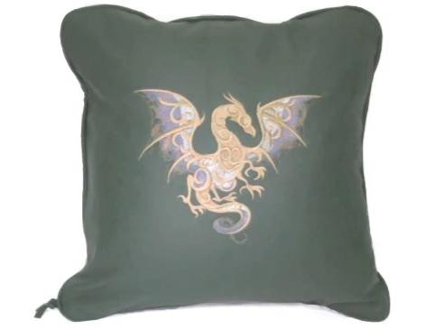 Handmade Genuine Leather Celtic Dragon Genuine Full grain Cow Hide Leather Pillow