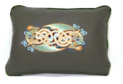 Handmade Genuine Leather Pillow with Celtic Dragon embroidery