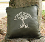 Handmade Genuine Leather Machine Embroidered Tree of Life Design Decorative Throw Pillow