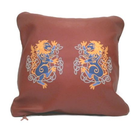 Handmade Genuine Top Grain Cowhide Leather Machine Embroidered Celtic Lions Decorative Throw Pillow Cover