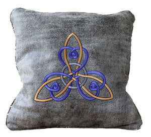 Handmade Genuine Textured Cowhide Leather Trinity Knot Machine Embroidered Decorative Throw Pillow Cover Christmas Gift