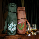 Elegant Embroidered Leather Whisky Tote