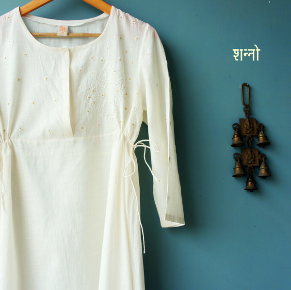 Ecru cotton empire line henley neck dress with side drawstrings embroidered in Sufi motif by Sanno