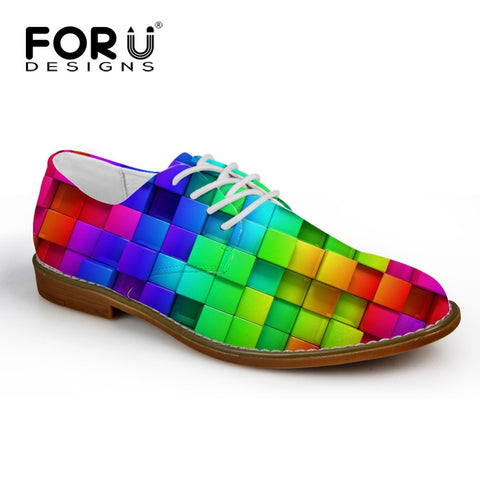 Men's Synthetic Leather Shoe Mixed Color Casual Oxford Shoes Square Color Blocks Style