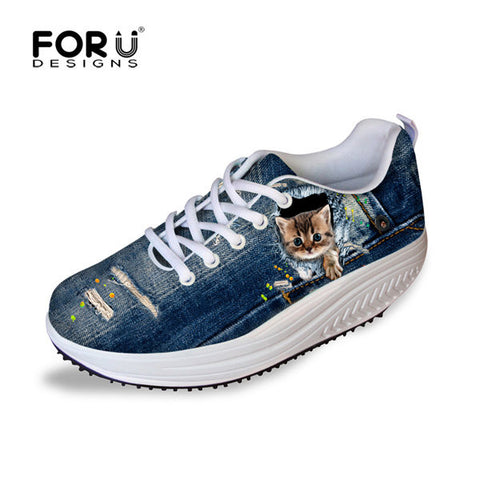Women's Tall Swing Shoes 3D Paw Cat Slimming Wedges Casual Shoes