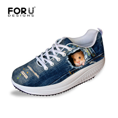 Women's Tall Swing Shoes 3D Hiding Hamster Slimming Wedges Casual Shoes