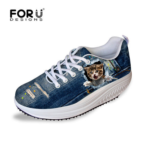 Women's Tall Swing Shoes 3D Jump Cat Slimming Wedges Casual Shoes