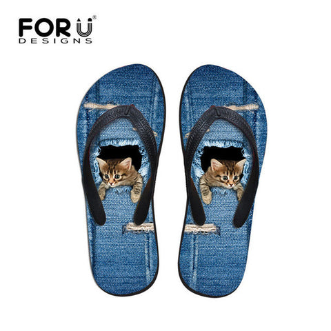 Beach Summer Blue Jeans Design Cat Chilling Print Flip Flops Casual Women's Flats