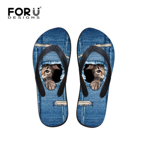 Beach Summer Blue Jeans Design Cat Hiding Behind Print Flip Flops Casual Women's Flats