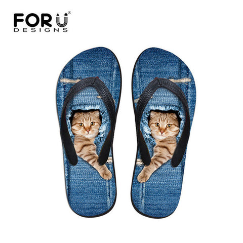 Beach Summer Blue Jeans Design Cat Paw Breakout Print Flip Flops Casual Women's Flats