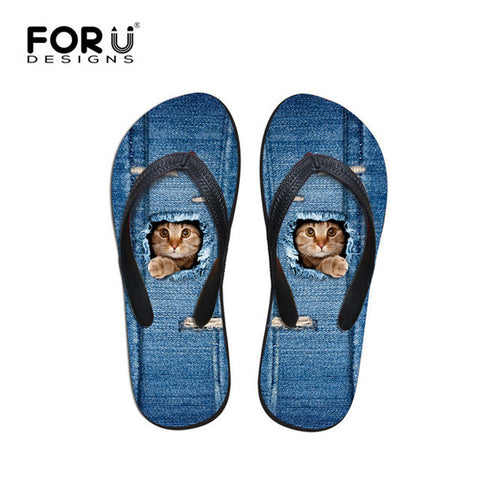 Beach Summer Blue Jeans Design Cat Hiding Paw Print Flip Flops Casual Women's Flats