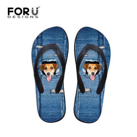 Beach Summer Blue Jeans Design Dog Print Tongue Print Flip Flops Casual Women's Flats