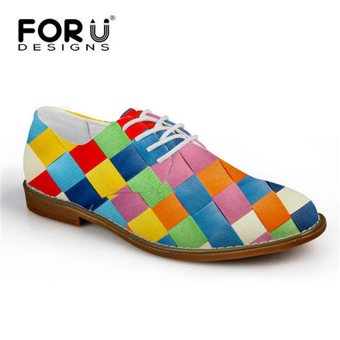 Men's Synthetic Leather Shoe Mixed Color Casual Oxford Shoes Square Patchwork Style