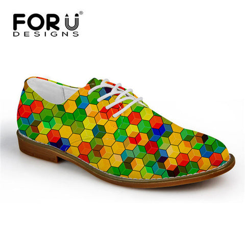 Men's Synthetic Leather Shoe Mixed Color Casual Oxford Shoes Hexagon Color Smash Style