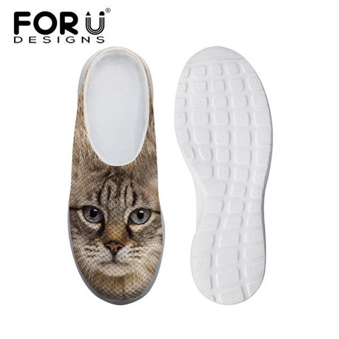 Women's Leisure Mesh Shoes Cat Black Flats Slip-ons Heels