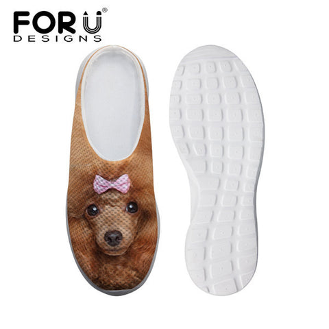 Women's Leisure Mesh Shoes Dog Poodle Brown Black Flats Slip-ons Heels