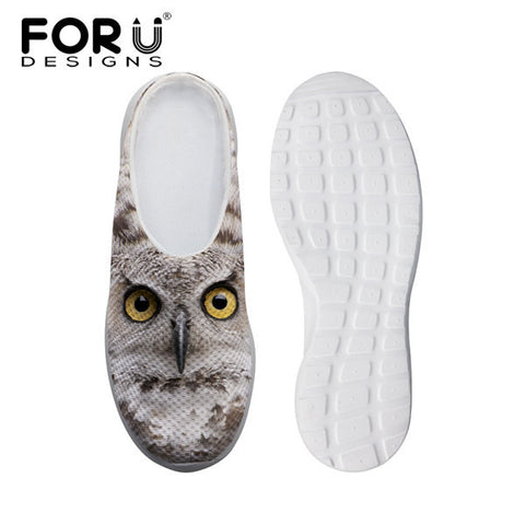 Women's Leisure Mesh Shoes Owl Brown White Flats Slip-ons Heels