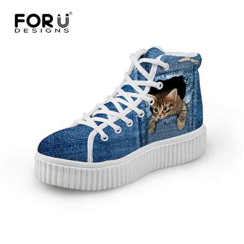 Women's High Top Platform Shoes Jeans Denim 3D Cat Climbing Print  Casual Breathable Flat Shoe