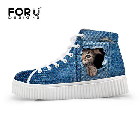Women's High Top Platform Shoes Jeans Denim 3D Shy Cat Print  Casual Breathable Flat Shoe