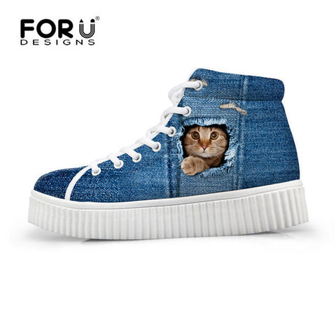 Women's High Top Platform Shoes Jeans Denim 3D Hidden Cat Print  Casual Breathable Flat Shoe