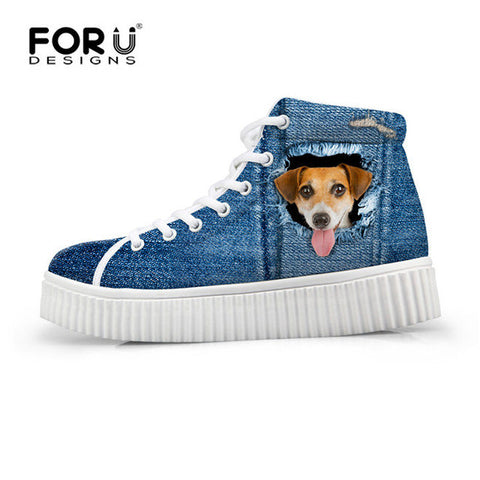 Women's High Top Platform Shoes Jeans Denim 3D Brown Dog Print  Casual Breathable Flat Shoe