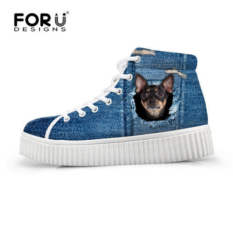 Women's High Top Platform Shoes Jeans Denim 3D Black Dog Print Casual Breathable Flat Shoe