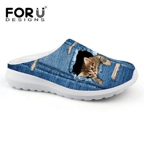 Women's Sandals Blue Denim Style Cat Escaping Print Summer Leisure Sandals Mesh Flats Beach Slipper Animal Print