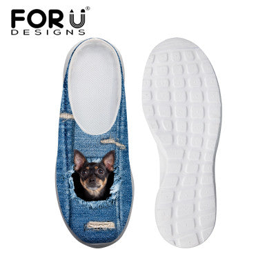 Women's Sandals Denim Blue + Black Dog Print Summer Leisure Sandals Mesh Flats Beach Slipper Animal Print