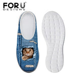 Women's Sandals Blue Denim Cat Hidden Paw Print Summer Leisure Sandals Mesh Flats Beach Slipper Animal Print