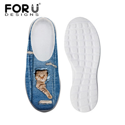 Women's Sandals Blue Denim Cat Paw Over Print Summer Leisure Sandals Mesh Flats Beach Slipper Animal Print