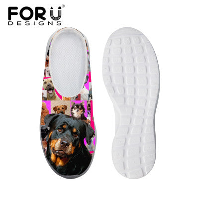 Women's Sandals Denim Black Dog Pink Print Summer Leisure Sandals Mesh Flats Beach Slipper Animal Print